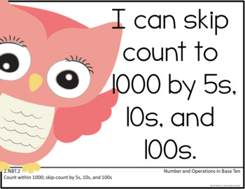 Common Core Second Grade Posters - Editable- (Owl Edition)