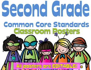 Common Core Second Grade Posters - Editable- (Superhero Edition)