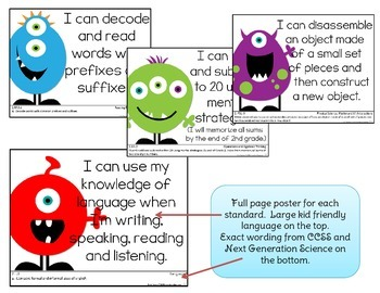 Common Core Second Grade Posters (I can...) Monsters Edition