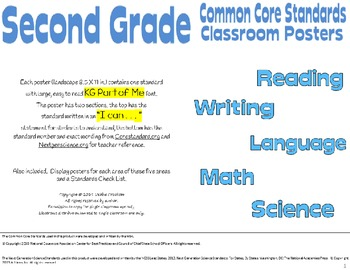 Common Core Second Grade Posters (I can...) Special Edition no graphics