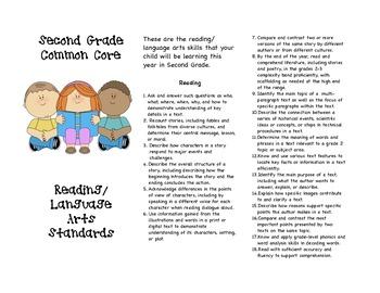Common Core Second Grade Reading/Language Arts Parent Brochure