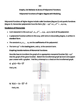 Common Core Secondary Math 3, Graphs, End Behavior, Zeros