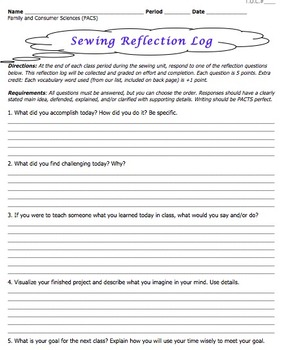 Sewing Lab Reflection Questions: Common Core Writing