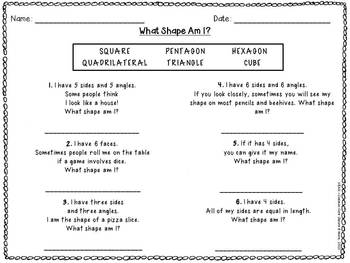 common core shape riddles by beth kelly teachers pay teachers. Black Bedroom Furniture Sets. Home Design Ideas