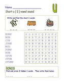 """Common Core - Short Vowel """" u """" Word Search! Double the Fun!"""
