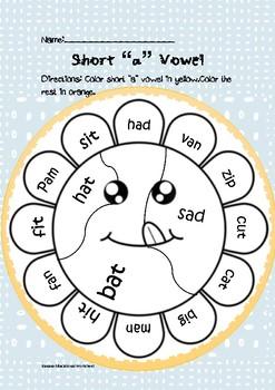 "Common Core Short ""a"" vowel coloring worksheet"