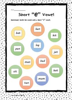 """Common Core Short """" e """" vowel Practice Packet"""
