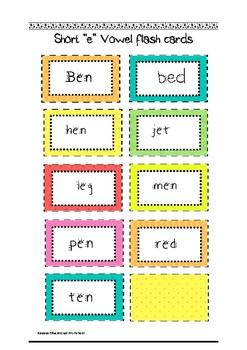 "Common Core Short ""e"" vowel flash cards"