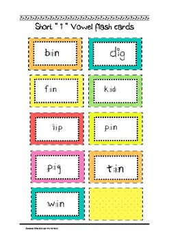 "Common Core Short ""i"" vowel flashcards"