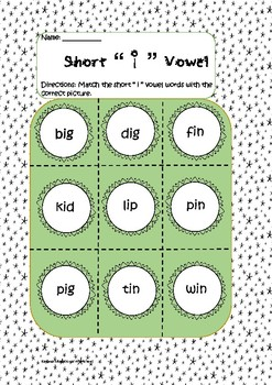 "Common Core Short ""i"" vowel matching worksheet"