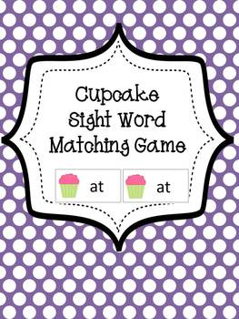 Common Core Sight Word Matching Game - Cupcake Themed