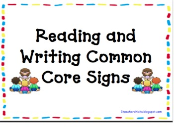 Common Core Signs with Kid Friendly Language