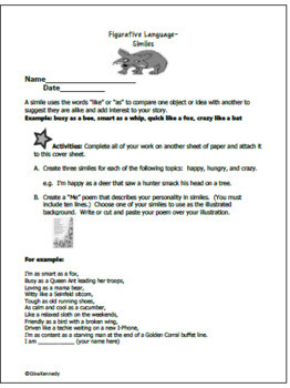Similes and Metaphors Lesson, Activities, Writing Projects, Task Cards