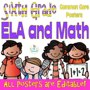 Common Core Sixth Grade ELA and Math Posters-- Melonheadz Edition
