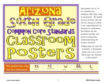 Common Core Sixth Grade Posters (I can . . .) Arizona ELA Standards