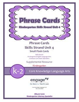Common Core Skills Strand Phrase Cards Kindergarten Unit 4- FREEBIE