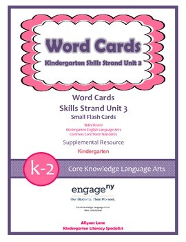 Common Core Skills Strand Word Cards Kindergarten Unit 3- FREEBIE
