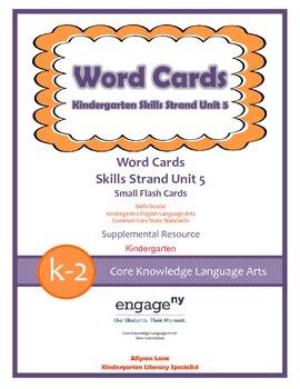 Common Core Skills Strand Word Cards Kindergarten Unit 5- FREEBIE