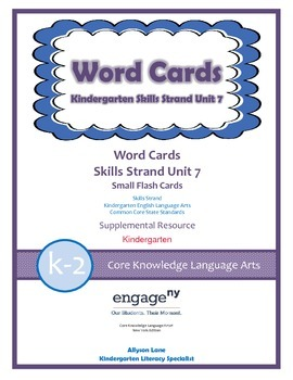 Common Core Skills Strand Word Cards Kindergarten Unit 7- FREEBIE