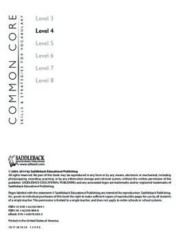 Common Core Skills & Strategies for Building Vocabulary Level 4