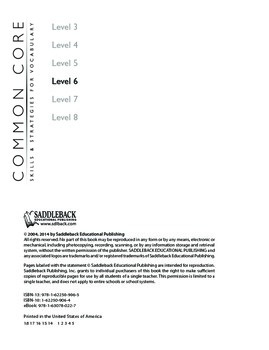 Common Core Skills & Strategies for Building Vocabulary Level 6