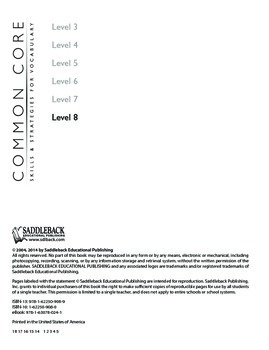 Common Core Skills & Strategies for Building Vocabulary Level 8