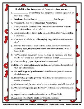 Common Core Social Studies: Social Studies Vocabulary Tournament Game-Economics