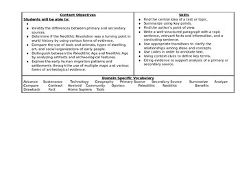 Common Core Social Studies Unit Curriculum Map (Early Man)