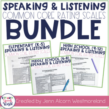 Common Core Speaking & Listening Rating Scales Bundle!
