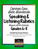 Speaking & Listening Rubrics Bundle Grades 6-8