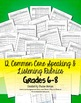 Speaking & Listening Rubrics Bundle Grades 6-8