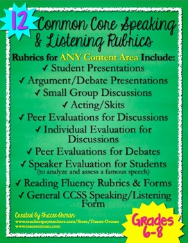 Speaking & Listening Rubrics Forms Grades 6-8