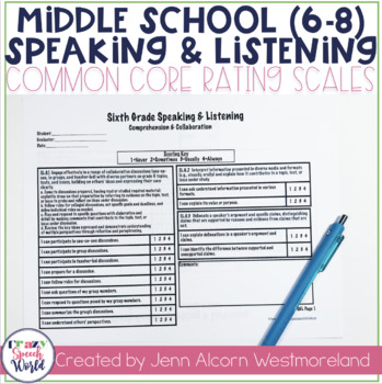 Common Core Speaking & Listening Rating Scales {6-8}