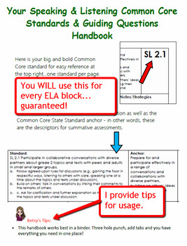 Common Core Speaking & Listening Standards & Guiding Questions Handbook - Kinder