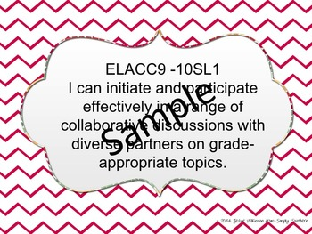 Common Core Speaking and Listening I Can Statements for 9th and 10th