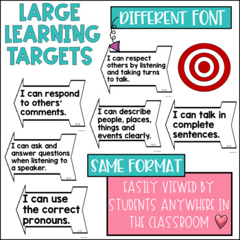 Common Core Speaking and Listening Learning Targets 1st grade