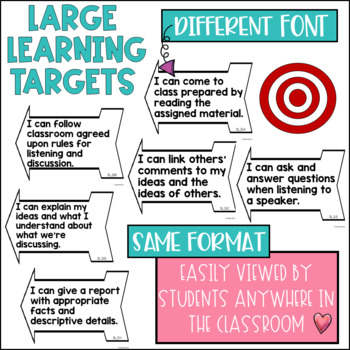 Common Core Speaking and Listening Learning Targets 3rd grade