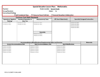 Common Core  Special Ed Interactive Lesson Plan Templates Grades K - 4