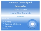 Common Core  Special Ed Interactive Lesson Plan Templates Grades K - 4