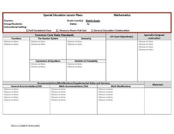 Common Core Special Education Interactive Lesson Plan Templates  Grades 6-8