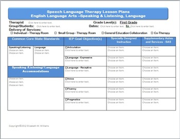 Common Core Speech Language Interactive Lesson Plan Templates Grades K-2