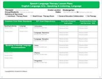 Common core speech language interactive lesson plan for Speech pathology lesson plan template