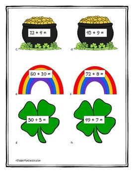 Common Core St. Patrick's Day Math - Division, Multiplication, Area, Perimeter