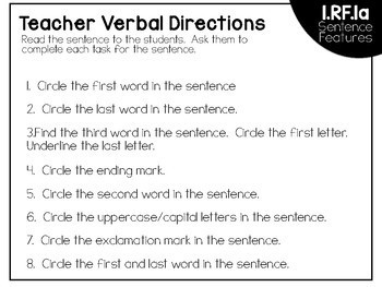 Common Core Standard Language Arts Assessment 1.RF.1a (Sentence Features)