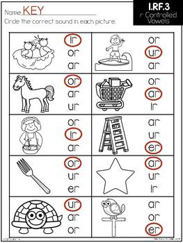 Common Core Standard Language Arts Assessment 1.RF.3 (R Controlled Vowels)
