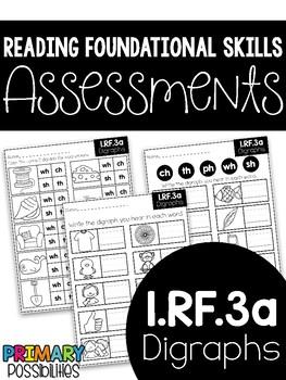 Common Core Standard Language Arts Assessment 1.RF.3a (Digraphs)
