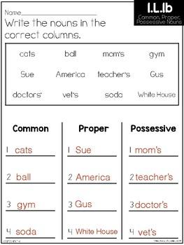 Common Core Standard Language Arts Assessment 1.L.1 (1.L.1b)