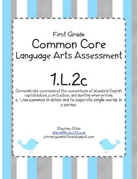 Common Core Standard Language Arts Assessment 1.L.2 (1.L.2c) (Commas)