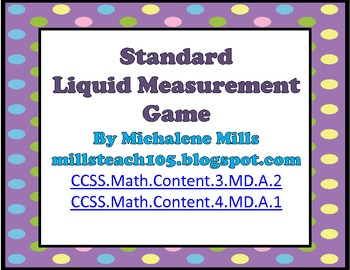 Common Core Standard Liquid Measurement Game
