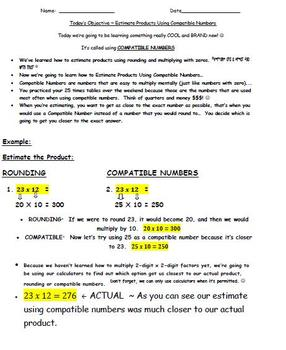 Common Core Standard Math Compatible Numbers Made Easy - E